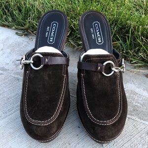 Coach Cleo Leather Suede Mule Slip On